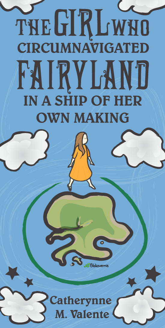 Book Review: The Girl Who Circumnavigated Fairyland in a Ship of Her Own Making. Catherynne M. Valente. [Image shows a girl with one shoe, and a continent, surrounded by clouds]