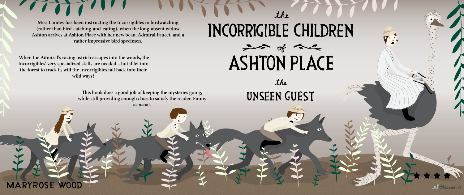 The Incorrigible Children of Ashton Place: The Unseen Guest. Maryrose Wood. Book Review: Miss Lumley has been instructing the Incorrigibles in birdwatching (rather than bird-catching-and-eating), when the long-absent widow Ashton arrives at Ashton Place with her new beau, Admiral Faucet, and a rather impressive bird specimen. When the Admiral's racing ostrich escapes into the woods, the Incorrigibles' very specialized skills are needed... but if let into the forest to track it, will the Incorrigibles fall back into their wild ways? This book does a great job of keeping the mysteries going, while still providing enough clues to satisfy the reader. As usual, it left me in stitches. [Image shows Miss Lumley astride an ostrich, and each of the Incorrigibles (two boys and a girl) astride wolves, running through the woods.]
