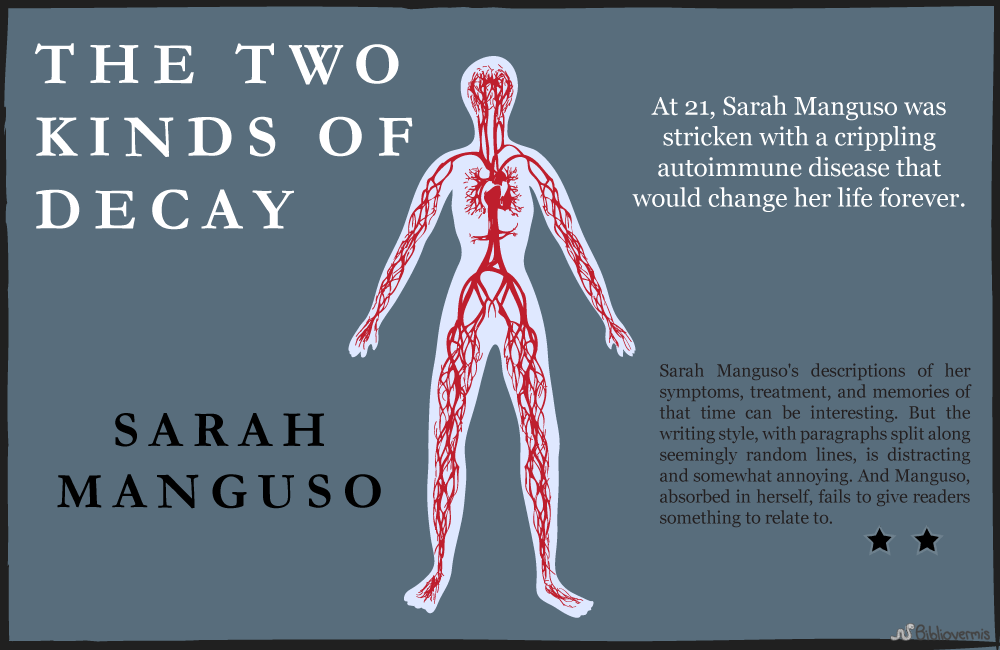 At 21, Sarah Manguso was stricken with a crippling autoimmune disease that would change her life forever. Manguso's descriptions of her symptoms, treatment, and memories of that time can be interesting. [Image shows the outline of a female human body with circulatory system in red.] But the writing style, with paragraphs split along seemingly random lines, is distracting and somewhat annoying. And Manguso, absorbed in herself, fails to give readers something to relate to.